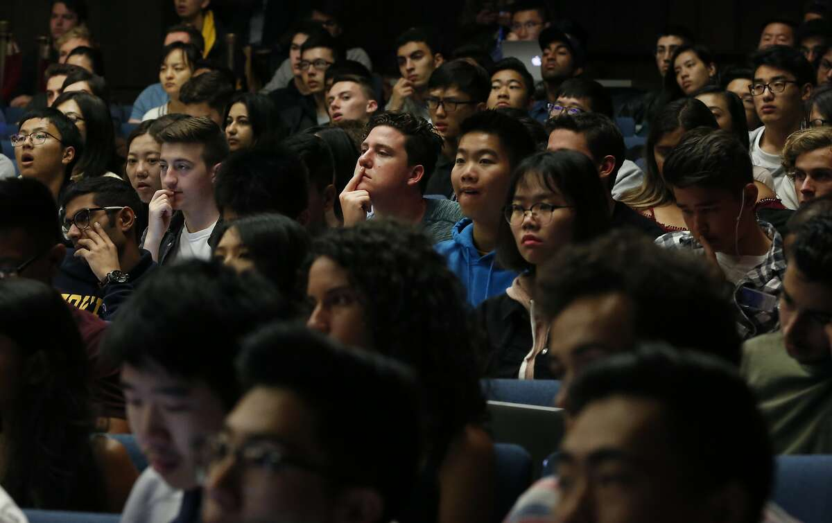 Students listen to the introductory lecture during the first day of the Foundations of Data Science course at UC Berkeley campus August 23, 2017 in Berkeley, Calif.