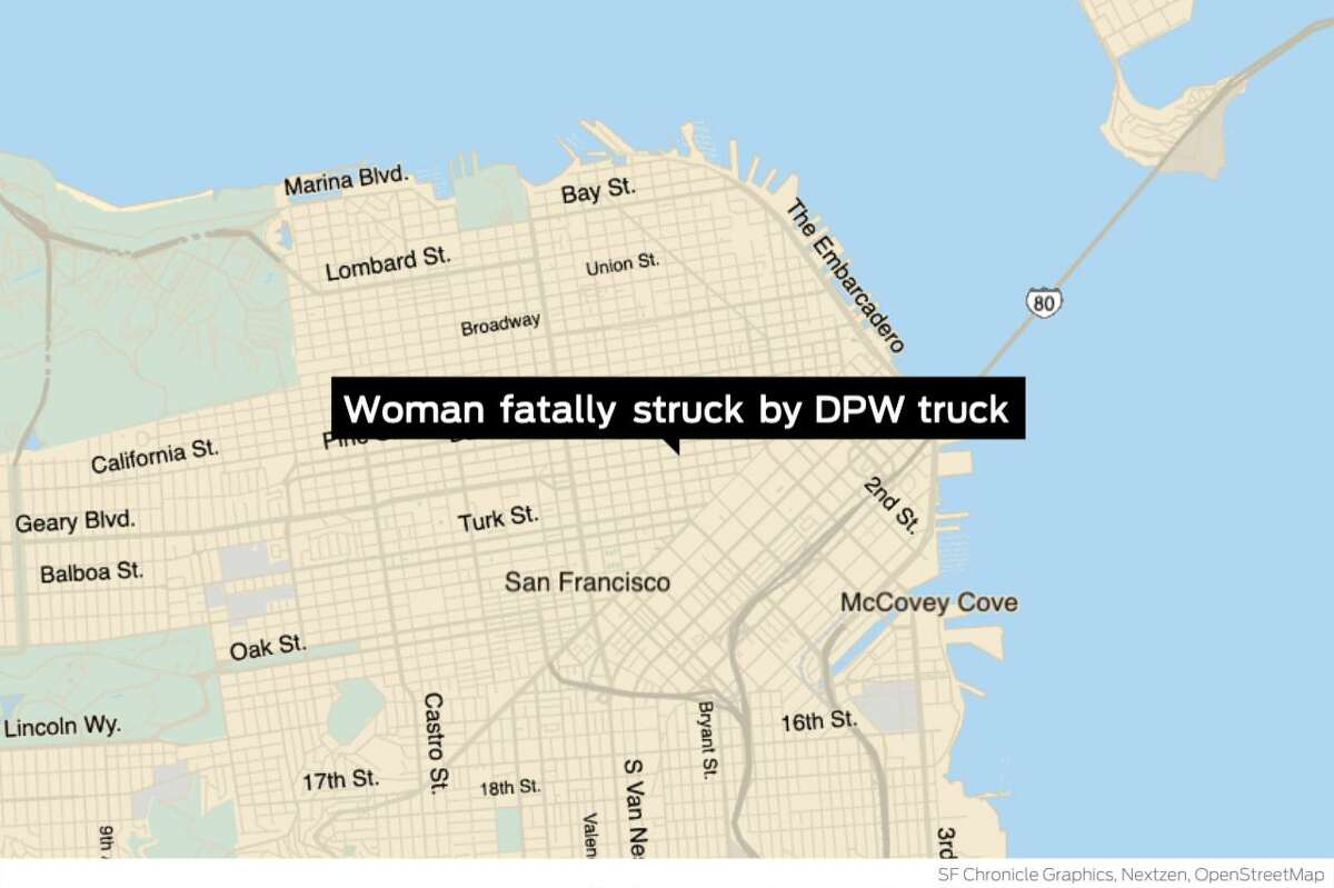 A woman was fatally struck by a DPW truck in San Francisco's Tenderloin on Sunday, police said.