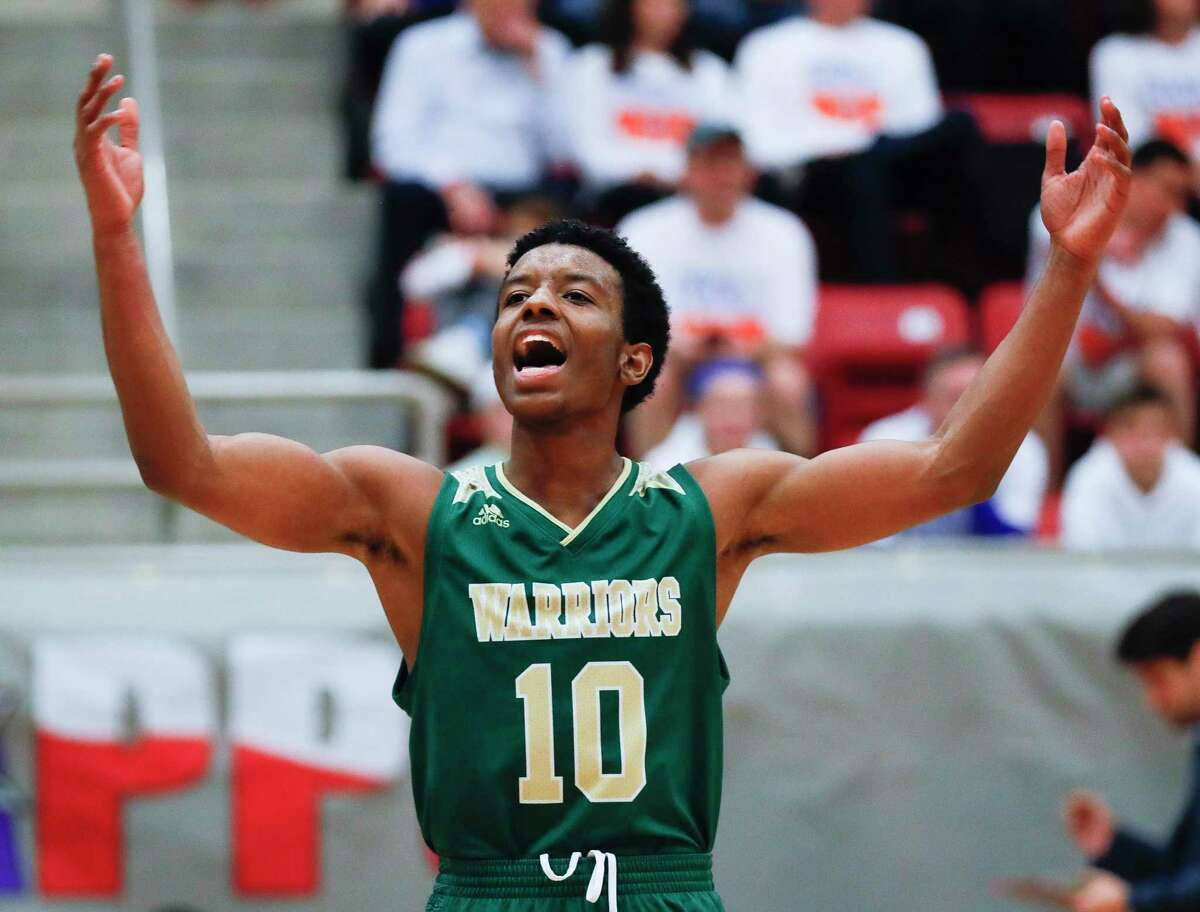The Woodlands Christian Academy point guard Bakari LaStrap (10) pumps up the crowd during the fourth quarter of the TAPPS Class 4A high school basketball championship at West High School, Saturday, Feb. 29, 2020, in West.