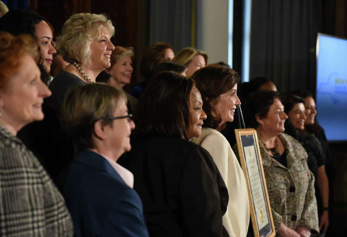 Lt. Gov. Kathy Hochul, center, is joined by fellow female state and local leaders to celebrate the start of women?•s history month on Monday, March 2, 2020, at the Capitol in Albany, N.Y. A series of celebratory events throughout March are planned to commemorate the 100th anniversary of women's suffrage. (Will Waldron/Times Union)