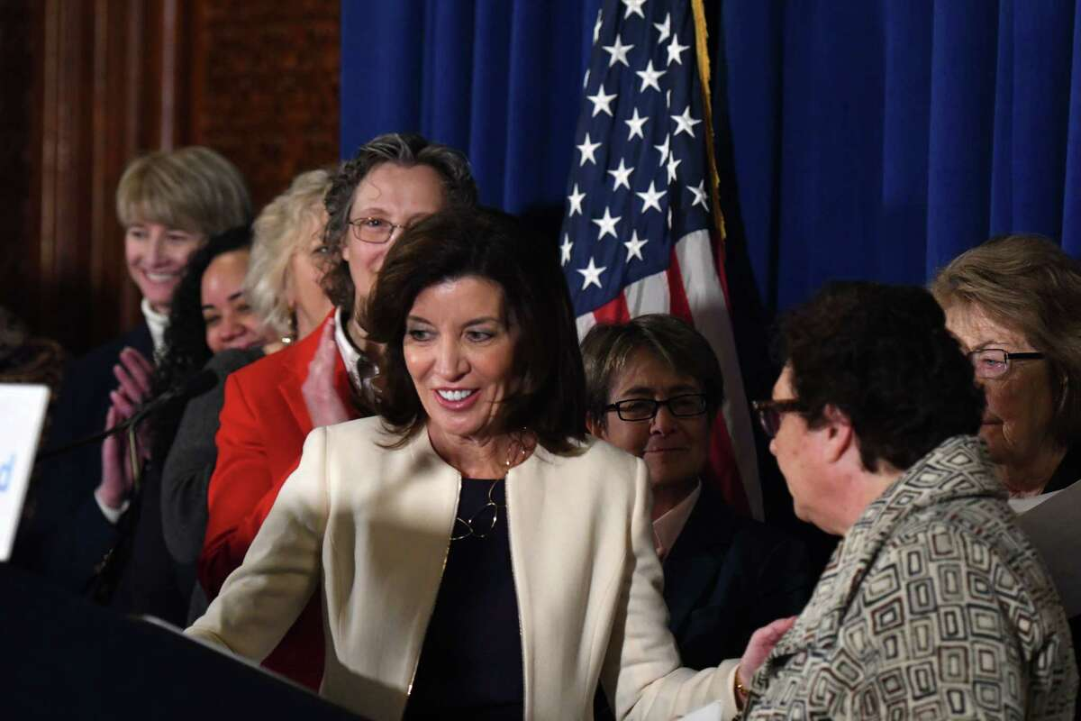 Lt. Gov. Kathy Hochul, center, is introduced by OGS Commissioner RoAnn Destito during a press conference to celebrate the start of women?•s history month on Monday, March 2, 2020, at the Capitol in Albany, N.Y. A series of celebratory events throughout March are planned to commemorate the 100th anniversary of women's suffrage. (Will Waldron/Times Union)