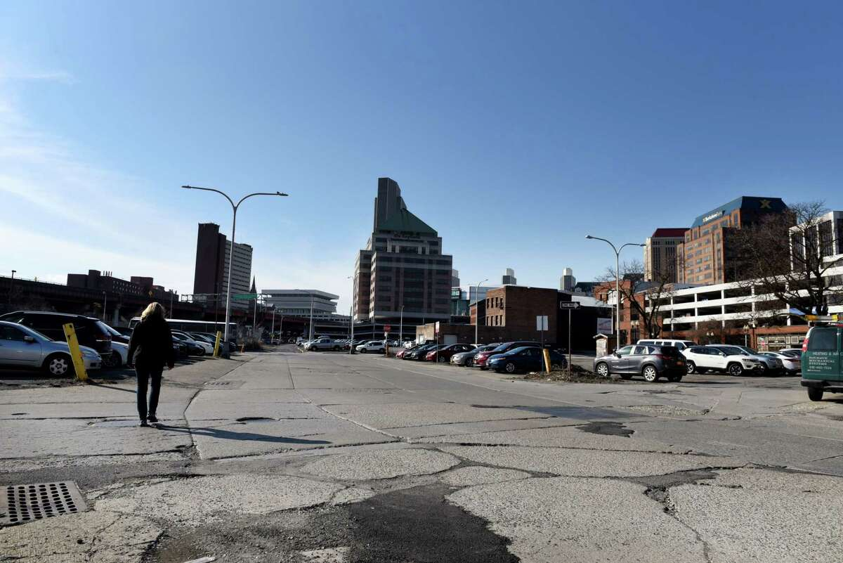 View showing property in the former convention center site, or more commonly known as the parking lot district, on Monday, March 2, 2020, in Albany, N.Y. (Will Waldron/Times Union)