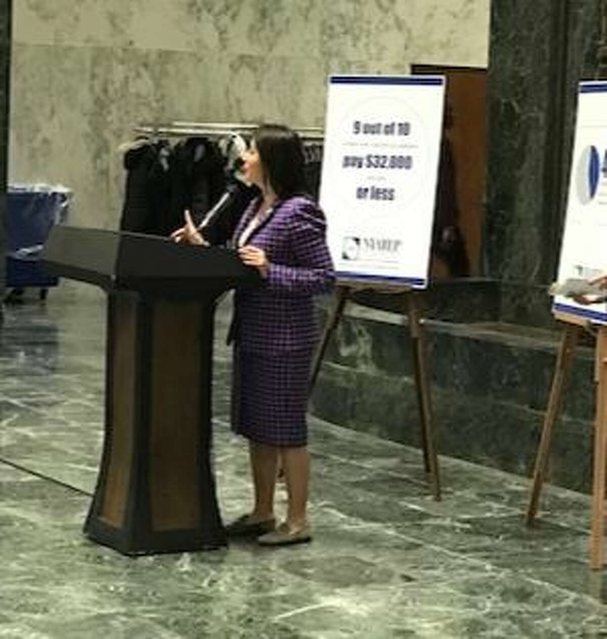 State Sen. Jessica Ramos speaks about the need for better job training for New Yorkers who are underemployed.