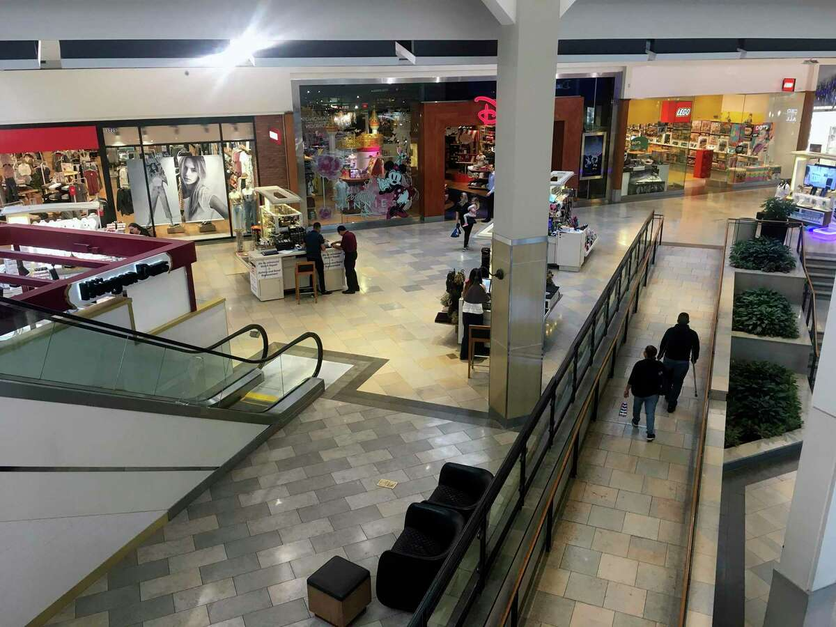 Customers walk around North Star Mall Monday morning. The mall was cited as one of the locations visited by a person who tested positive for the Coronoavirus. She visted the mall on Saturday from 5:30 p.m. until 7:30 p.m.