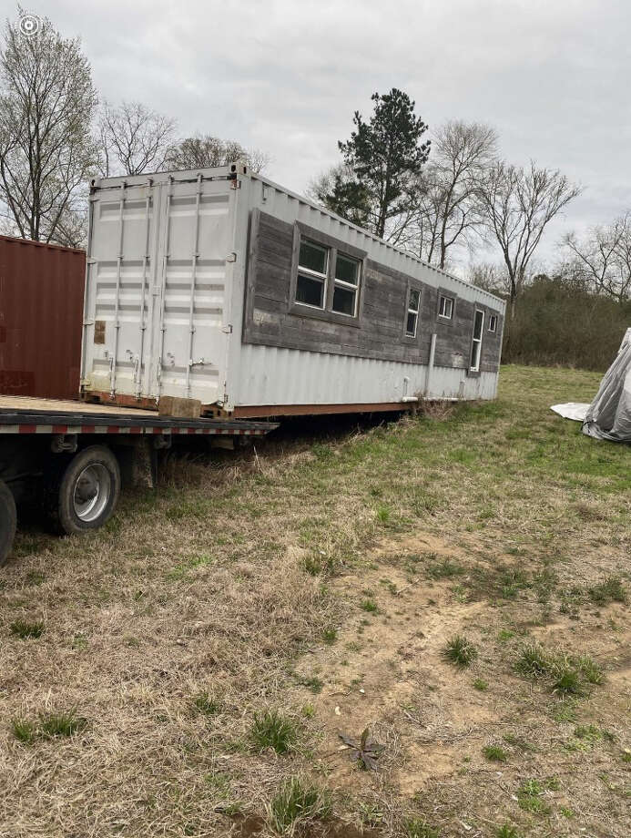 Officials unveiled this container that will become a housing unit for a local veteran. Photo: Courtesy