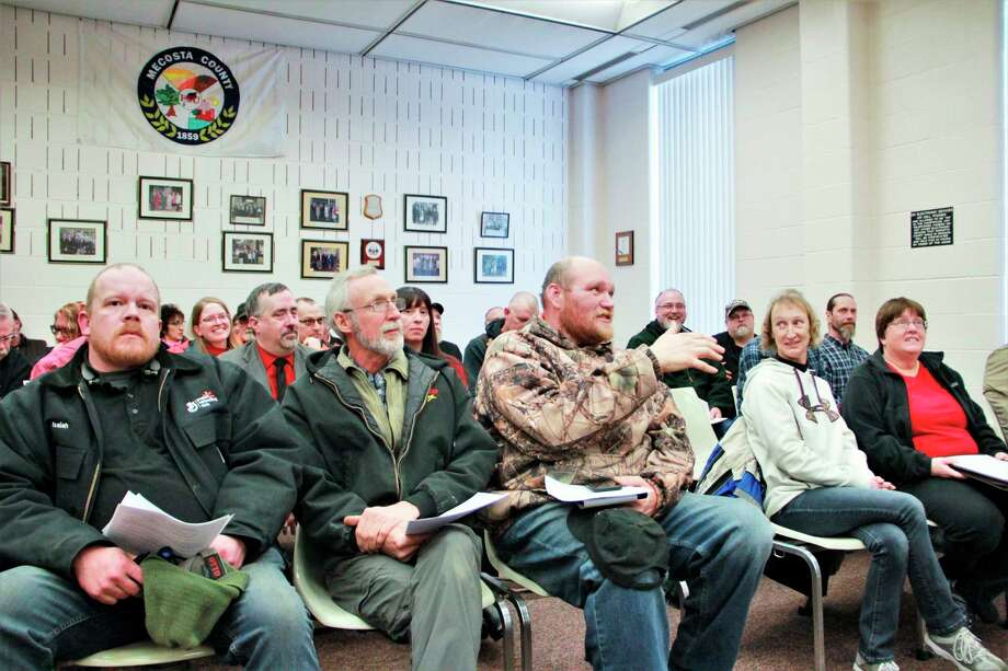 """Featured is a scene from last month's Mecosta County Board of Commissioners meeting. At the meeting, many residents took the podium in support of a """"Second Amendment Sanctuary County"""" resolution. However, during the meeting, county commissioner Bill Routley proposed instead, the board discuss accepting a resolution affirming the board's support of constitutional rights. """"It sends a message loud and clear to Lansing to not mess with our constitutional rights -- period,"""" Routley said at the meeting. (Pioneer file photo)"""