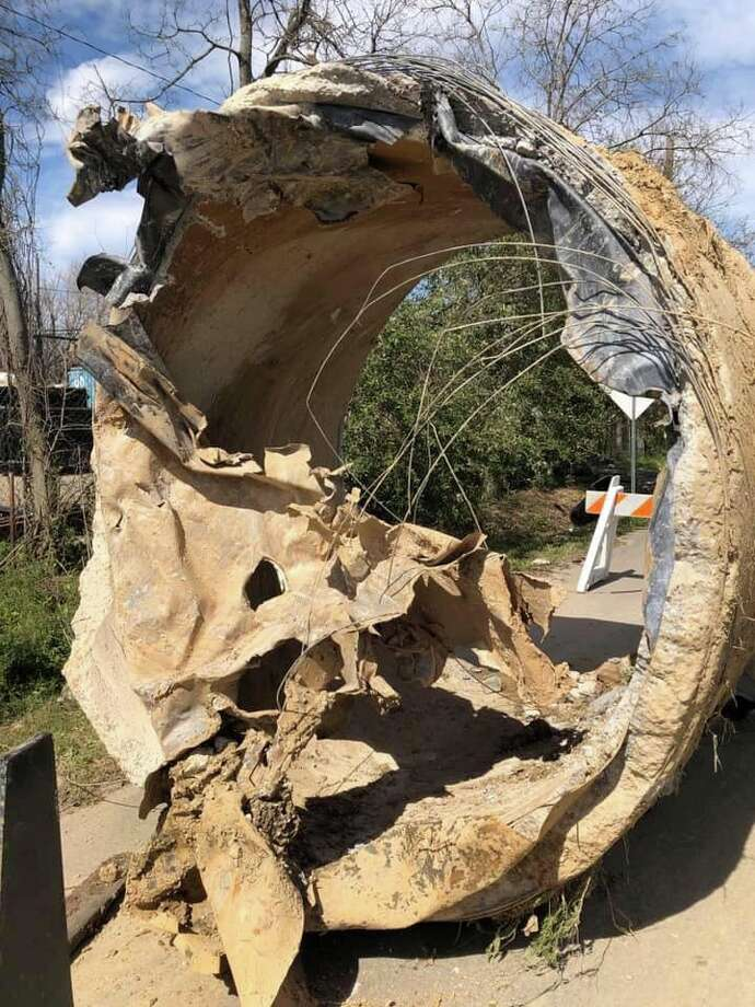 The City of Houston Public Works gives a close-up view of the hulking 96-inch pipe that erupted near Clinton Drive and East Loop 610 on Thursday. Photo: Houston Public Works