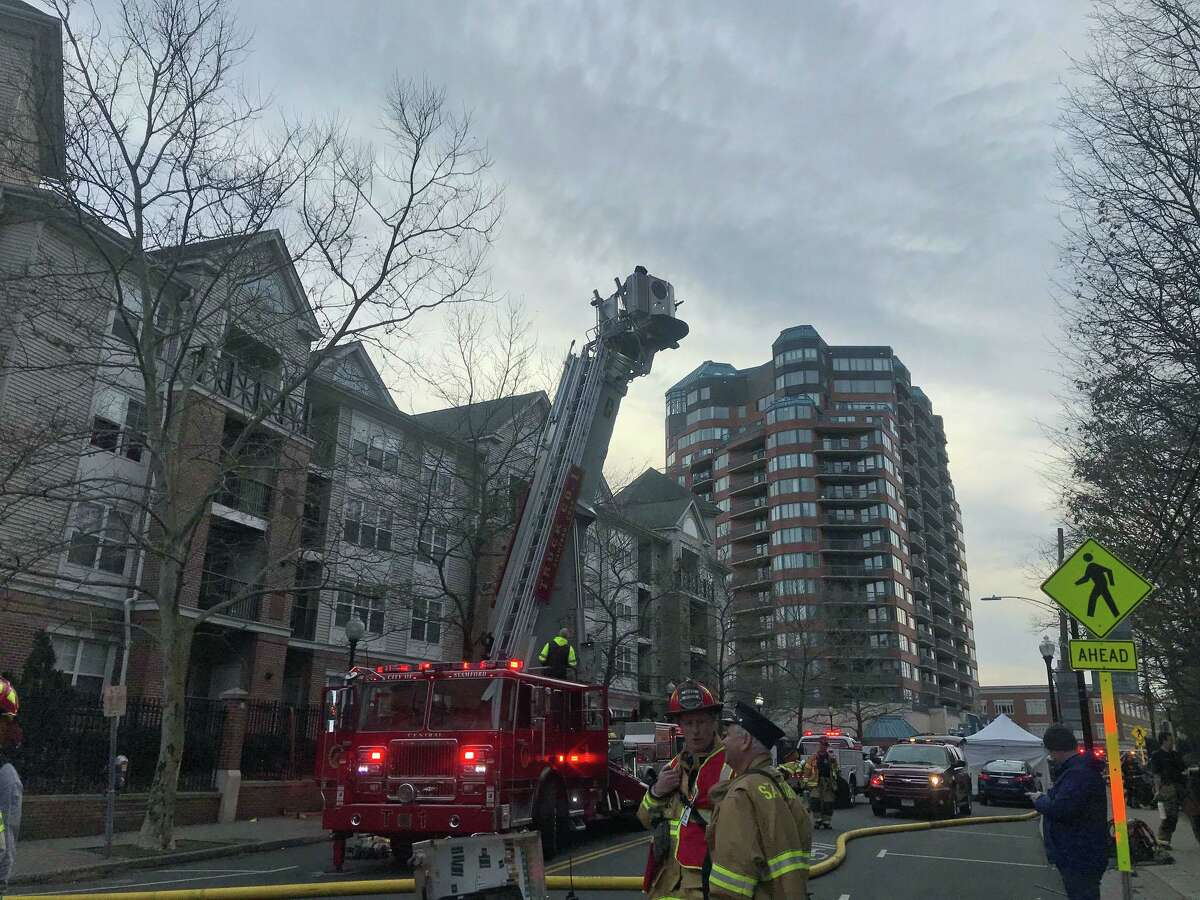 Stamford firefighters responded Monday to a fire at the Parc Grove Apartments in downtown Stamford.