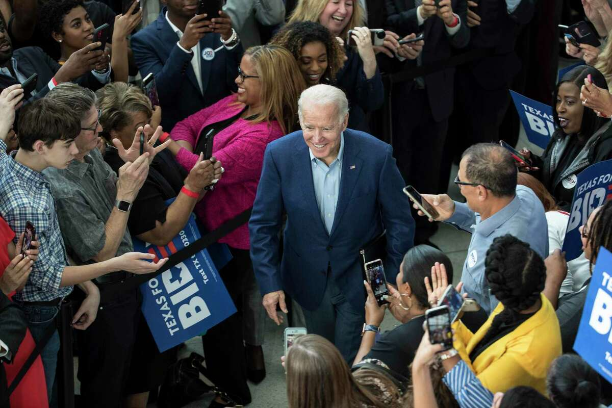 Democratic presidential hopeful former Vice President Joe Biden greets supporters during a campaign stop on Monday, March 2, 2020 at Texas Southern University in Houston.
