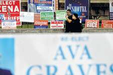 A sea of signs line the entry to the Jefferson County Courthouse as candidates in local races vie for votes. Primary race winners will be announced after polls close Tuesday night. Photo taken Monday, March 2, 2020 Kim Brent/The Enterprise