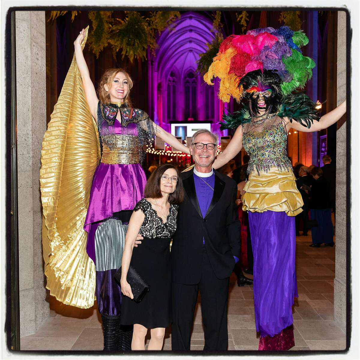 Sheila Andrus and her husband, The Right. Rev. Mark Andrus celebrate Carnivale at Grace Cathedral. Feb. 25, 2020.