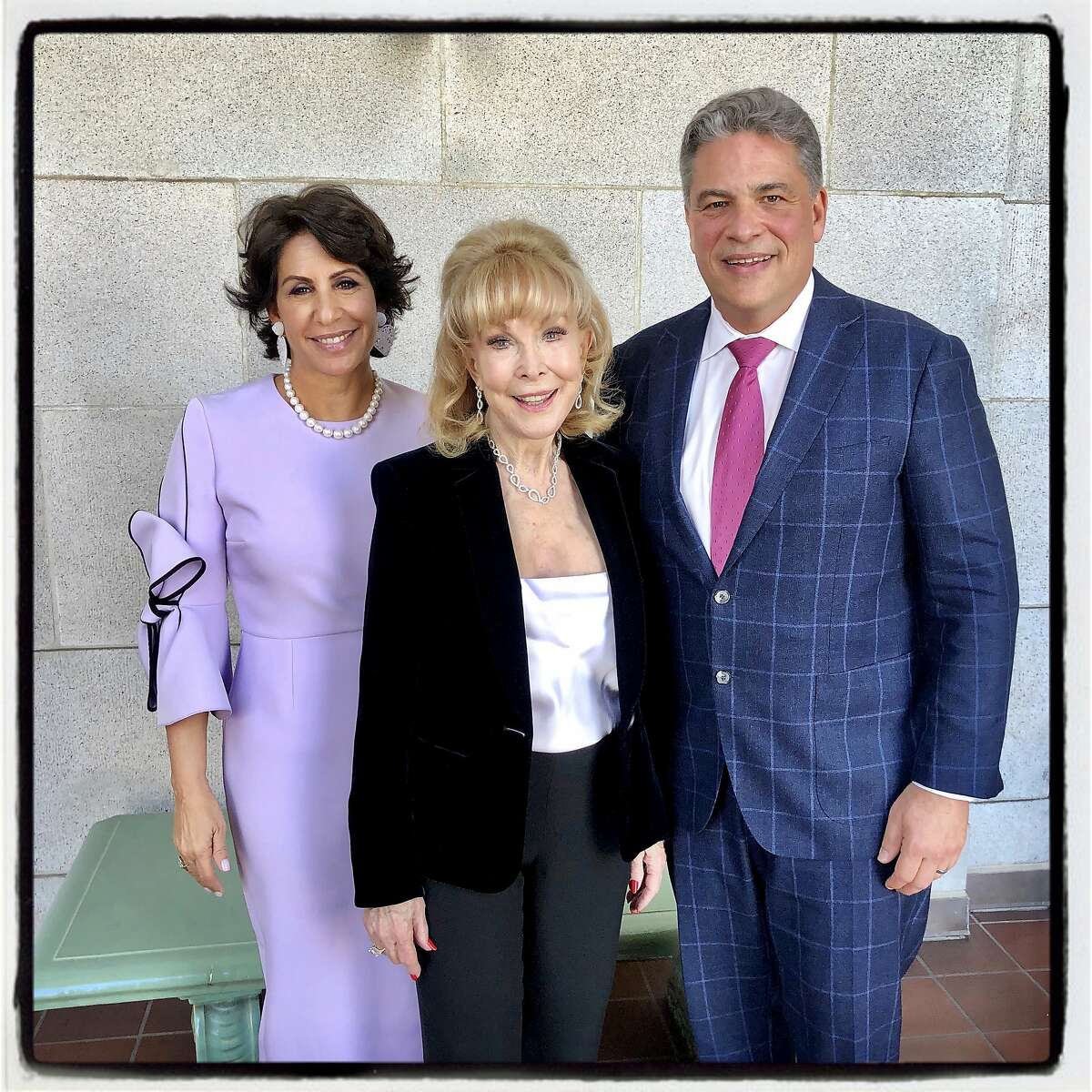 Lisa Grotts (left) with actor Barbara Eden and SF Conservatory of Music President David Stull. Feb. 14, 2020.