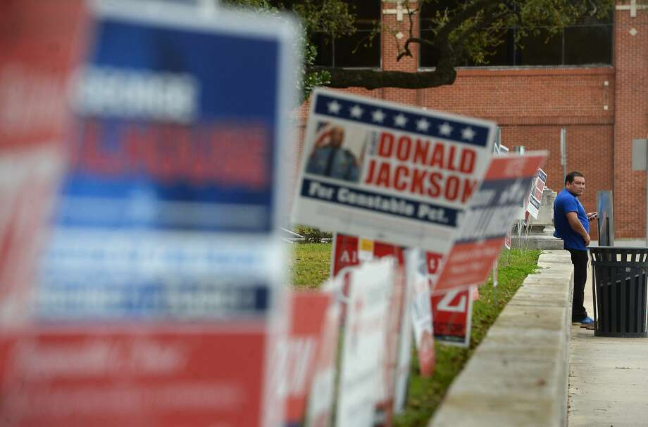 A sea of signs line the entry to the Jefferson County Courthouse as candidates in local races vie for votes. Primary race winners will be announced after polls close Tuesday night. Photo taken Monday, March 2, 2020 Kim Brent/The Enterprise Photo: Kim Brent/The Enterprise