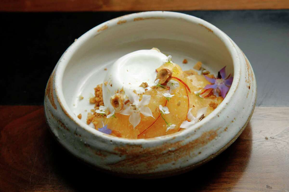 For probiotics, try a fermented dish, such as yogurt with peach, hazelnut and coconut caramel.