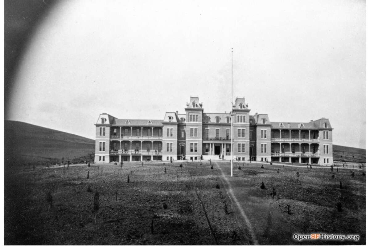 At its height, the almshouse at Laguna House could house 900 San Francisco citizens. Here, it's seen in 1875.