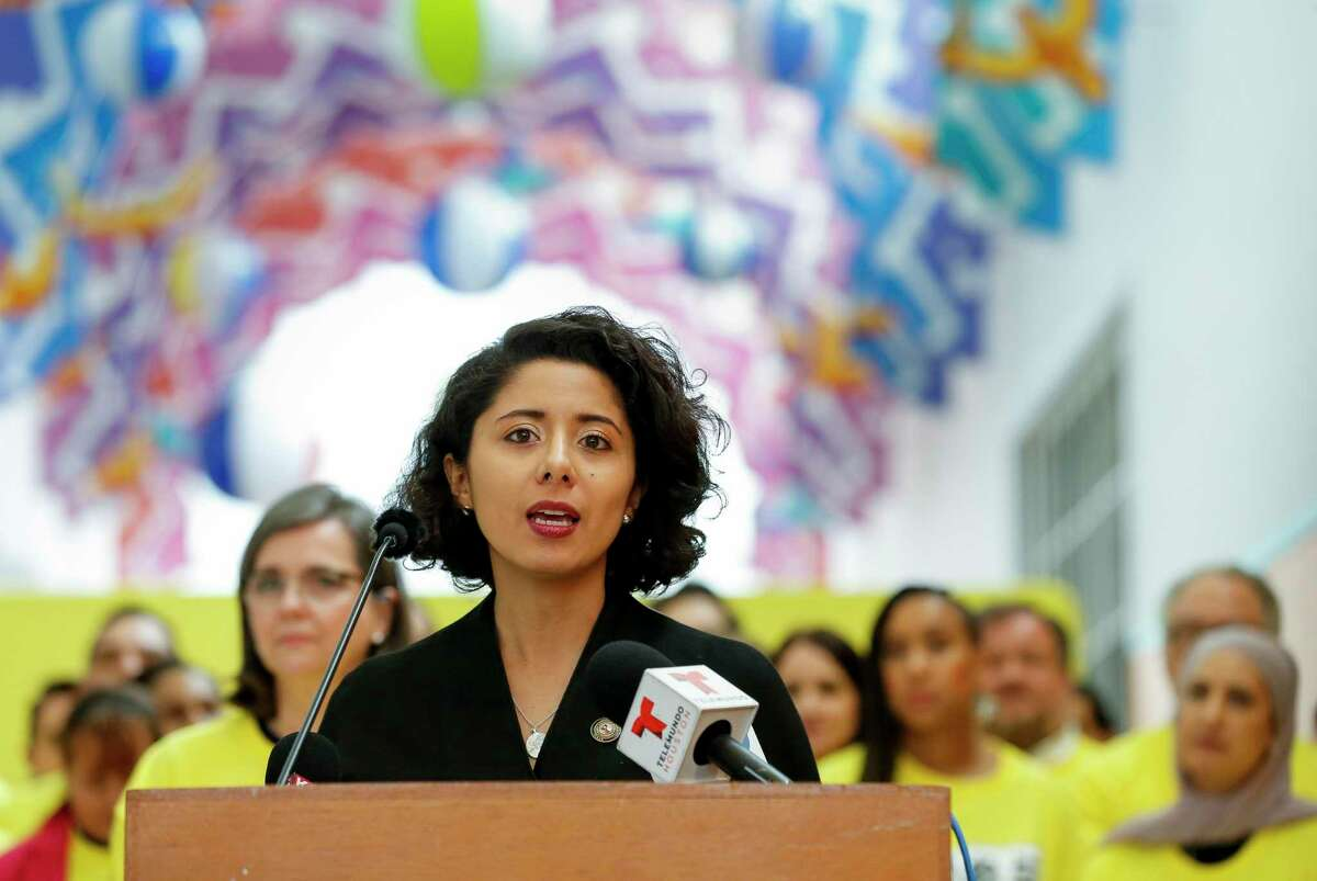 Harris County judge Lina Hidalgo conducts a press conference inside the Children's Museum, kicking off the Houston and Harris County's census drive local campaign