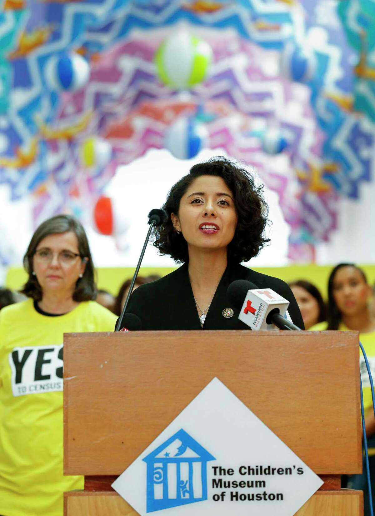 """Harris County judge Lina Hidalgo conducts a press conference inside the Children's Museum, kicking off the Houston and Harris County's census drive campaign """"Yes! to Census 2020,"""" Monday, March 2, 2020, in Houston."""