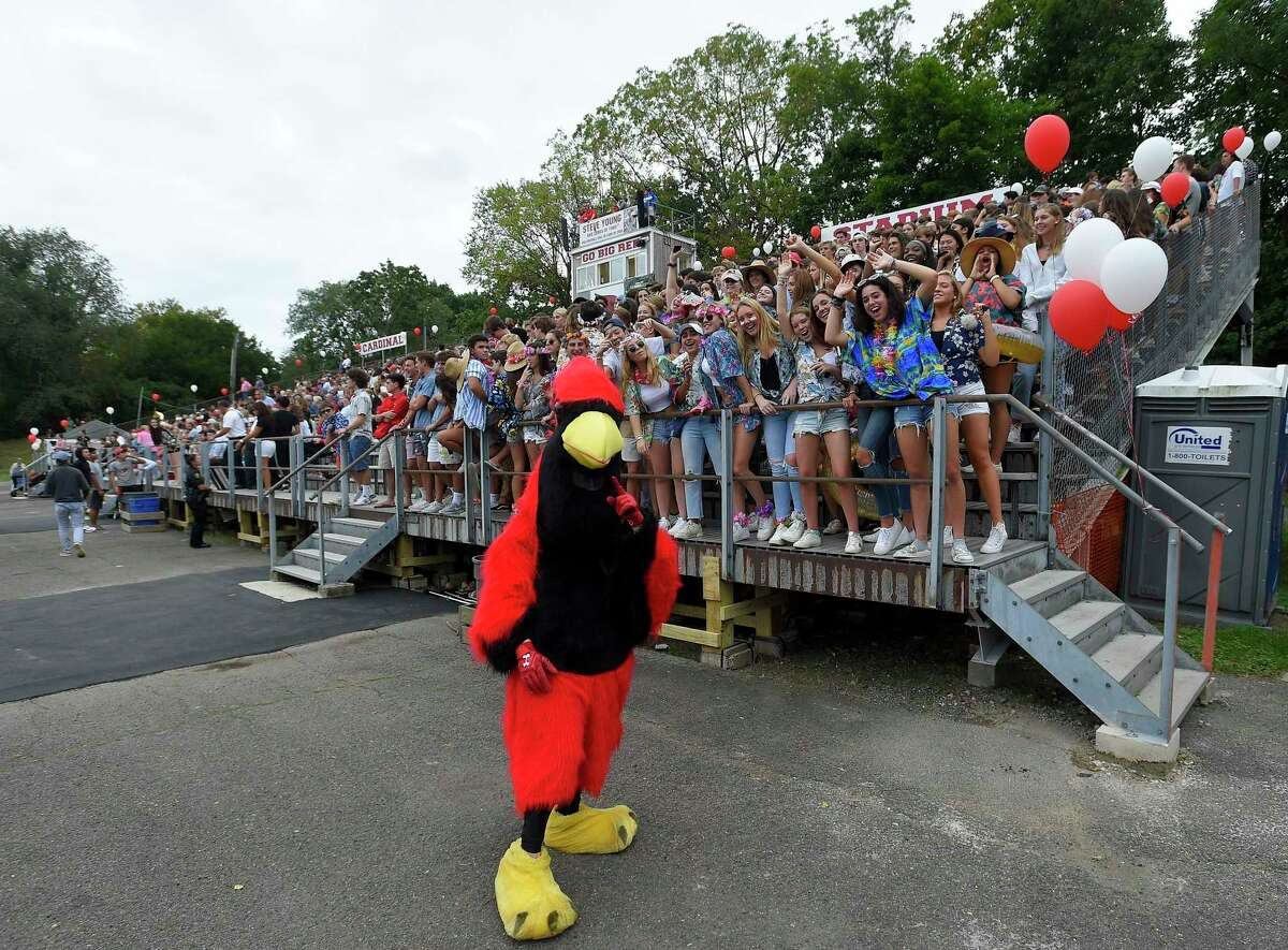 Cardinal fans cheer from the reopened grandstands after structural repairs were completed at Cardinal Stadium earlier this week for Greenwich's FCIAC football season opener against Danbury on Sept. 14, 2019 in Greenwich, Connecticut.