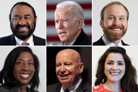 From top left to bottom left in clockwise order: Rep. Al Green, former Vice President Joe Biden, Pierce Bush, Natalie Hurtado, Rep. Kevin Brady and Elizabeth Frizzell.