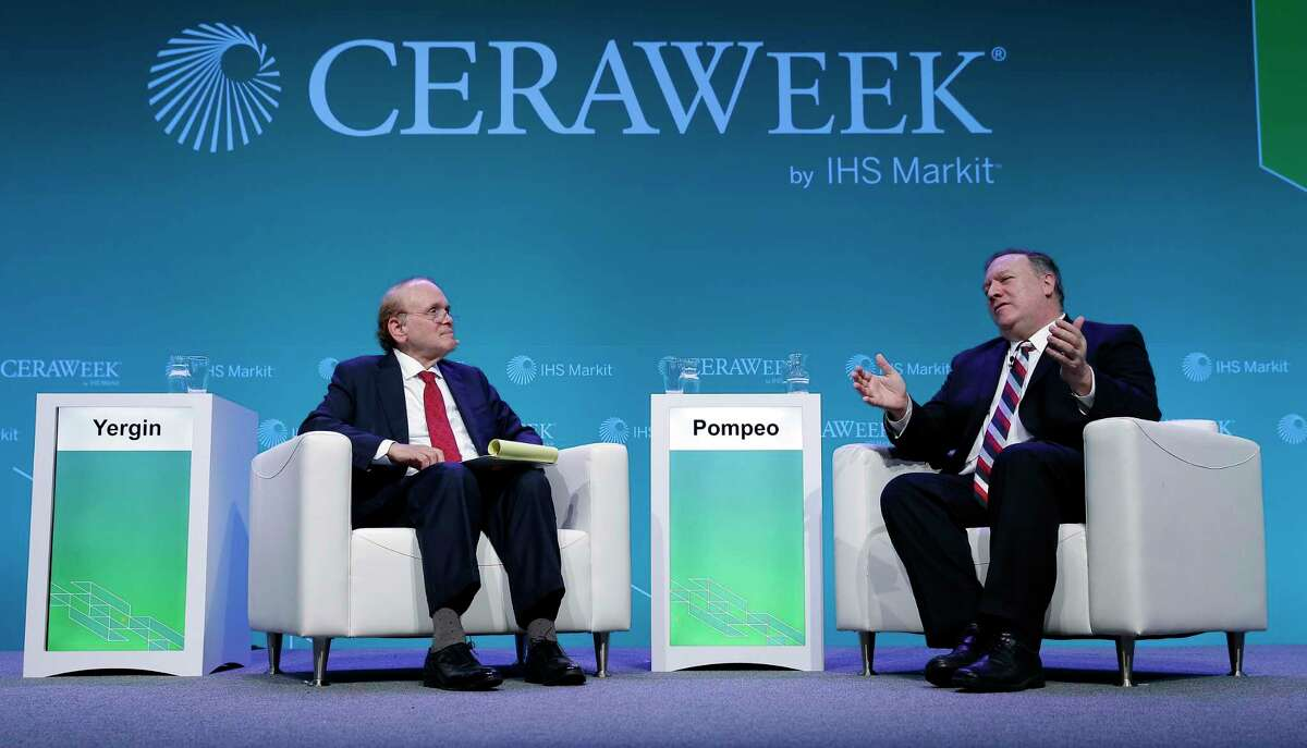 Daniel Yergin, left, Vice Chairman of IHS Markit talks with U.S. Secretary of State Michael Pompeo during last year's CERAWeek by IHS Markit. Organizers on Sunday cancelled the annual energy conference over growing concerns about the spread of the coronavirus.
