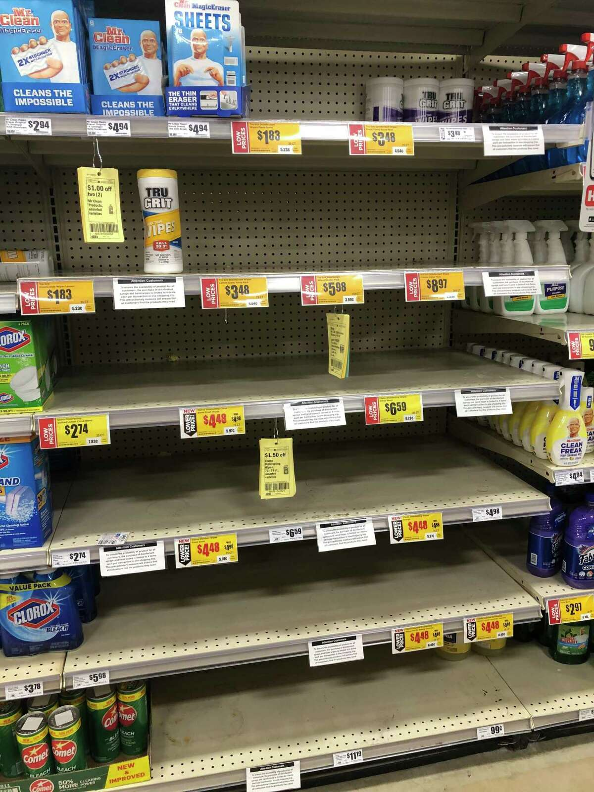 Shelves usually stocked full of surface disinfectant wipes were barren Monday at H-E-B's store at Interstate 10 and Wurzbach Parkway.
