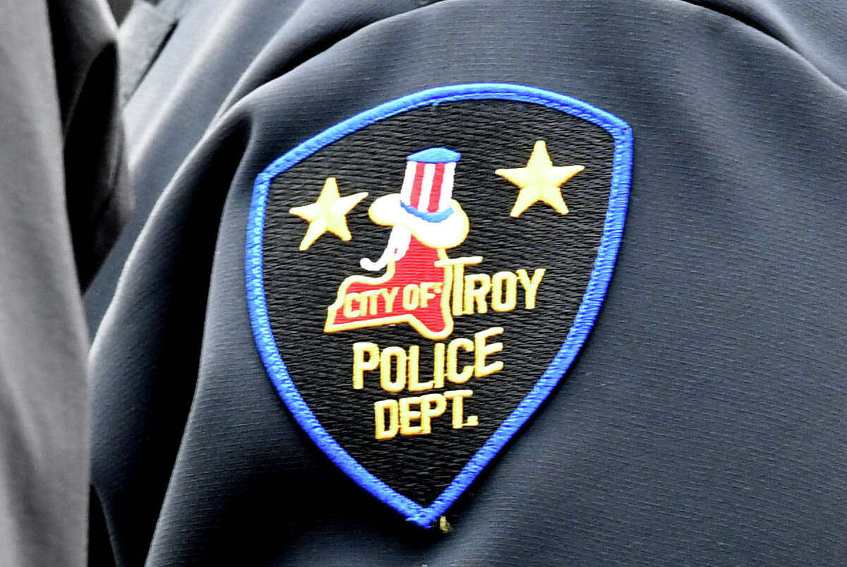 Troy Police Department crest on an officer's uniform on Friday, Feb. 28, 2020, in Troy N.Y. (Will Waldron/Times Union)