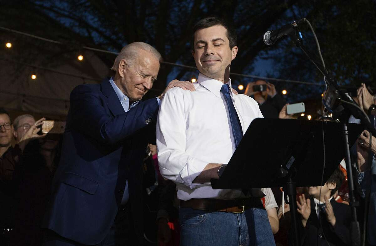 Former Democratic presidential primary candidate Pete Buttigieg endorses Joe Biden, during an event at the Chicken Scratch restaurant the night before Super Tuesday primary voting, on Monday night, March 2, 2020 in Dallas.