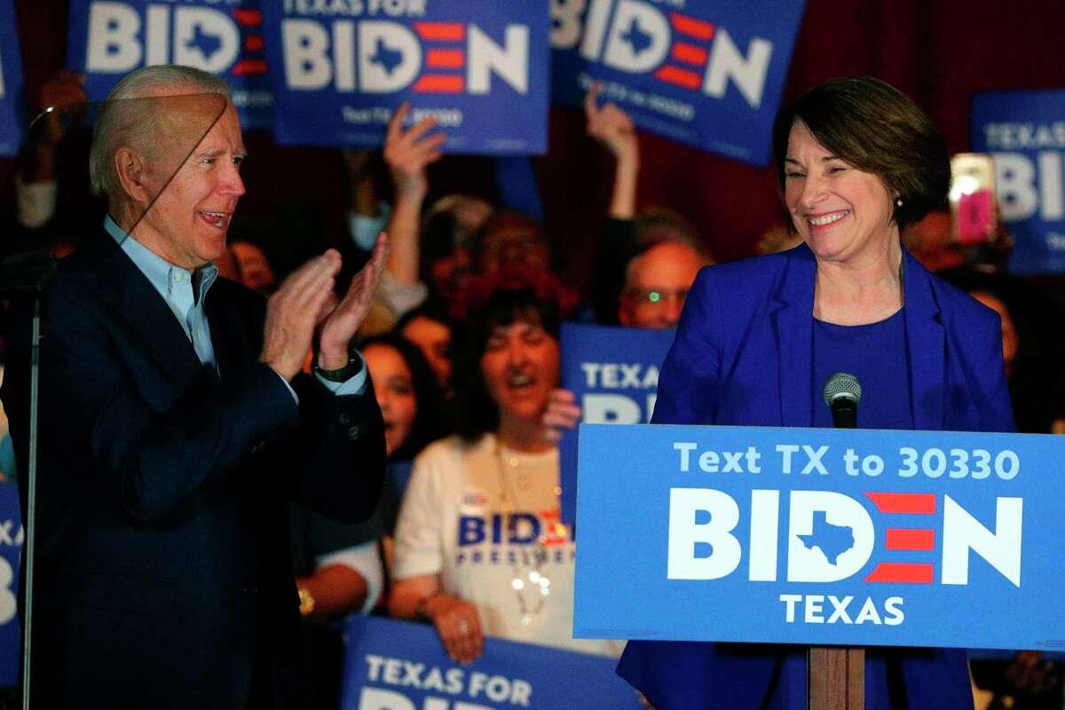 Sen. Amy Klobuchar, D-Minn., endorses Democratic presidential candidate former Vice President Joe Biden at a campaign rally Monday, March 2, 2020 in Dallas.