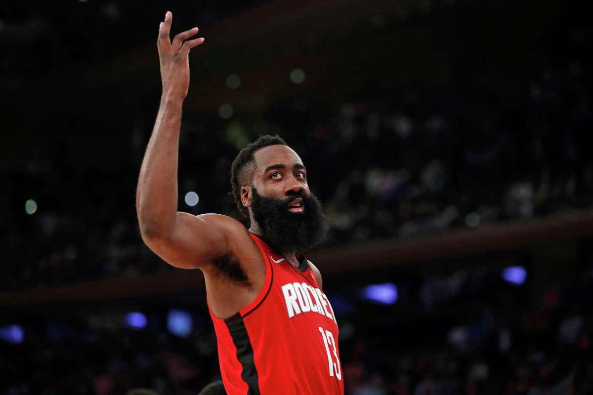 Houston Rockets guard James Harden (13) gestures to get crowd riled up as the score evened out in the waning seconds of the fourth quarter of an NBA basketball game against the New York Knicks in New York, Monday, March 2, 2020. (AP Photo/Kathy Willens)