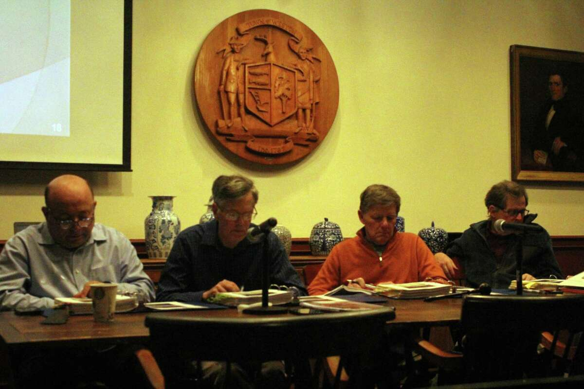 The Weston Board of Finance reviews the First Selectman's budget on Mar. 2.