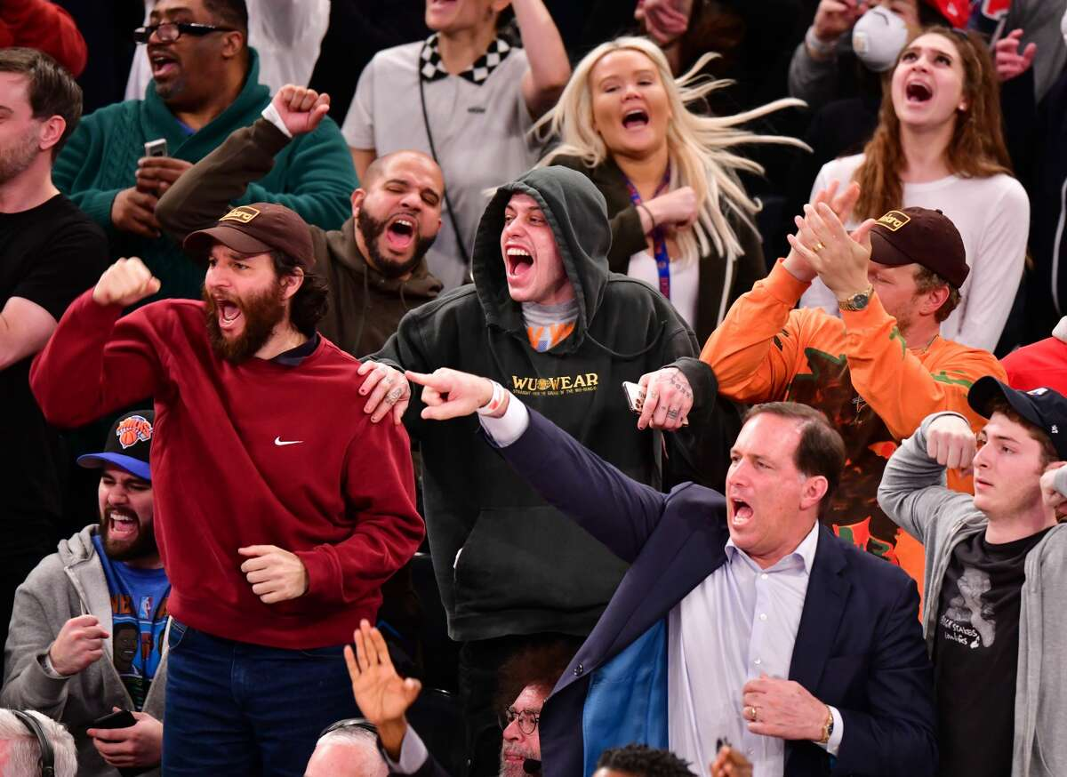 PHOTOS: Celebrities at Monday night's Rockets-Knicks game NEW YORK, NY - MARCH 02: Josh Safdie, Pete Davidson and Sebastian Bear-McClard attend Houston Rockets v New York Knicks game at Madison Square Garden on March 2, 2020 in New York City. (Photo by James Devaney/Getty Images)