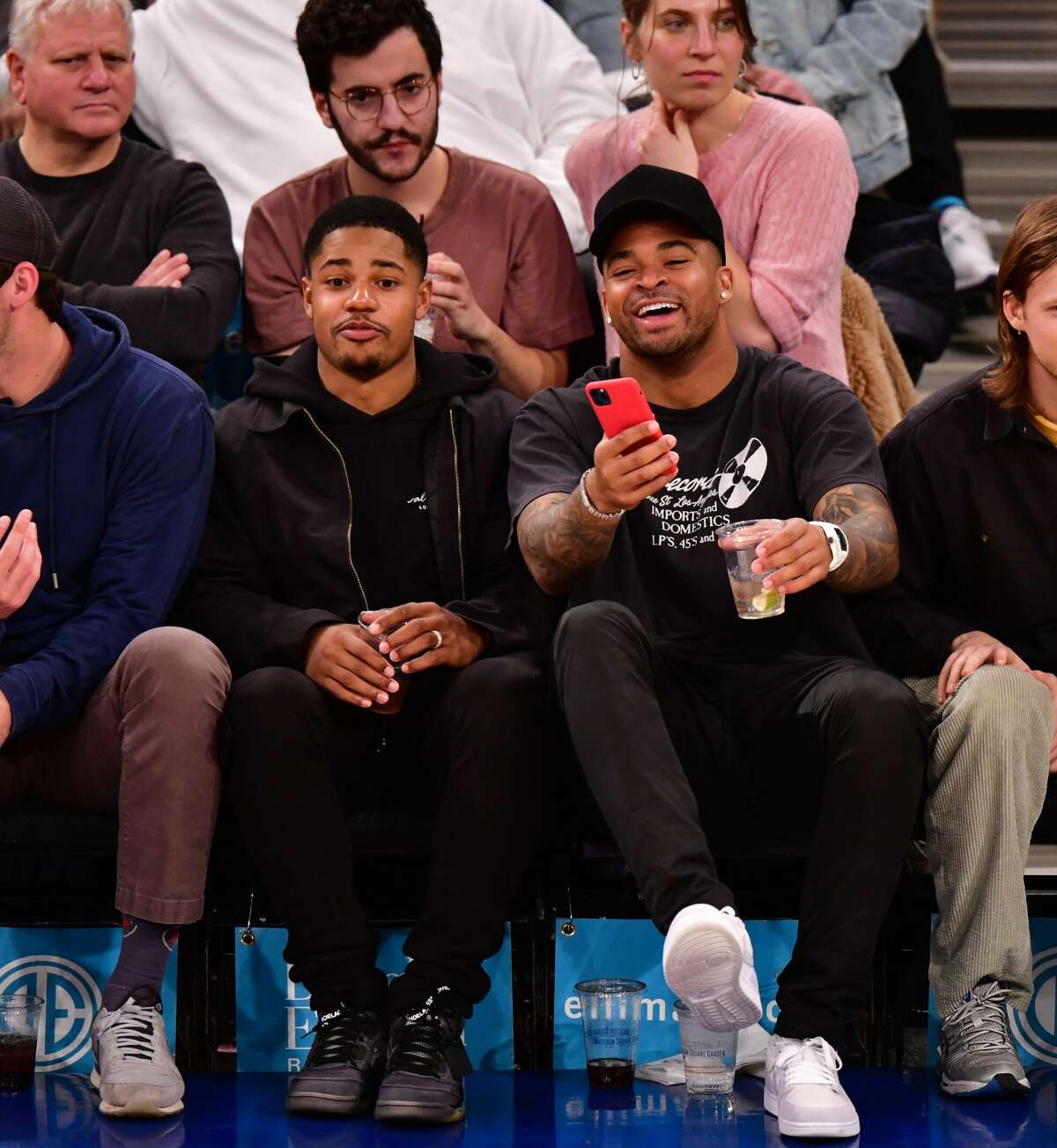 NEW YORK, NY - MARCH 02: Sterling Shepard and Jamal Adams attend Houston Rockets v New York Knicks game at Madison Square Garden on March 2, 2020 in New York City. (Photo by James Devaney/Getty Images)