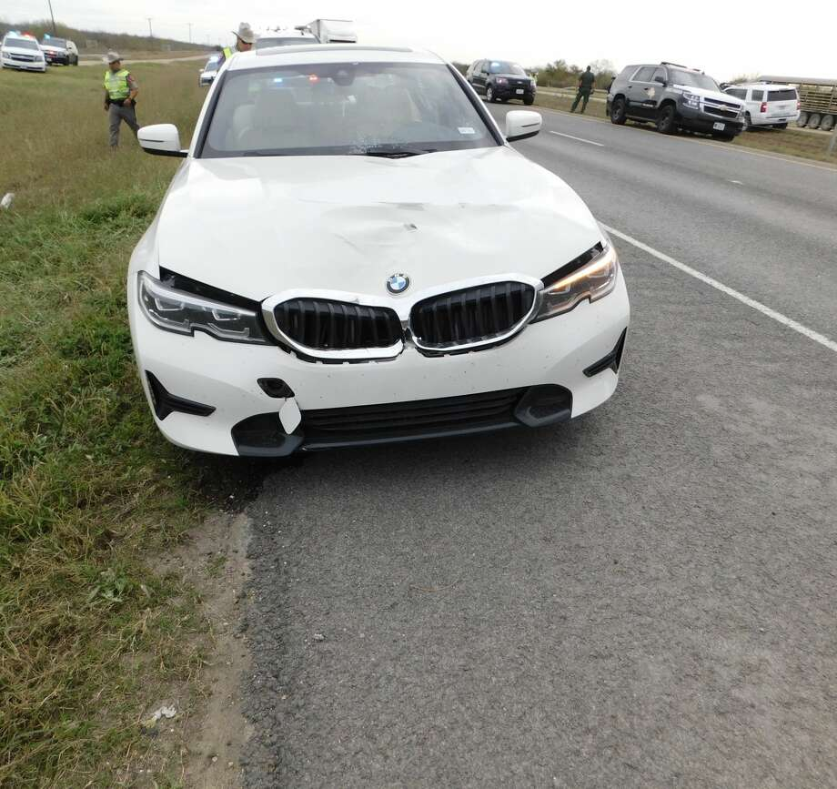 The Texas Department of Public Safety said this white 2019 BMW passenger car struck an 18-year-old pedestrian while he was crossing the highway on mile marker 29 of Interstate 35. Troopers continue to investigate the case. Photo: Courtesy Photo