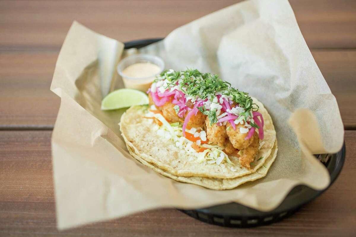 Baja shrimp tacos at Torchy's Tacos.