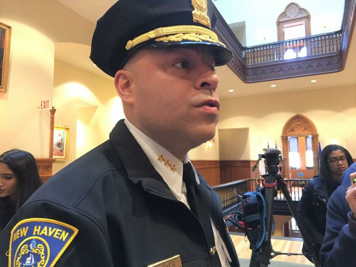 Police Chief Otoniel Reyes at the New Haven budget presentation, March 2, 2020