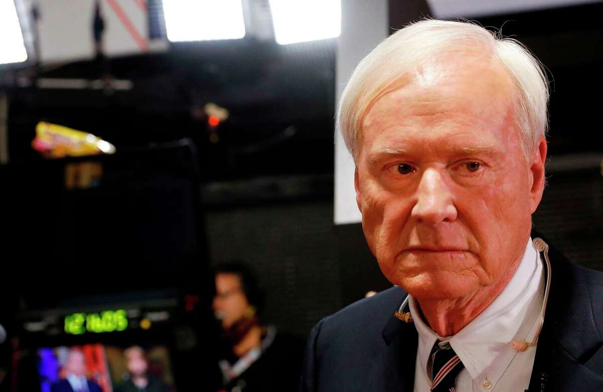 """Chris Matthews, host of MSNBC's political show """"Hardball"""" prepares for interviews in the spin room after the Democratic Presidential Debate at the Fox Theatre on July 31, 2019 in Detroit, Michigan. - Chris Matthews anounced his retirement on the air during his last """"Hardball"""" political show on March 2, 2020. (Photo by JEFF KOWALSKY / AFP) (Photo by JEFF KOWALSKY/AFP via Getty Images)"""