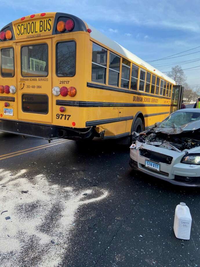 Several students were injured in a school bus accident on Hemingway Avenue in East Haven Tuesday morning on March 3, 2020. The accident involved four vehicles: a school bus, two passenger vehicles and a tractor-trailer, said Fire Chief Matthew Marcarelli and Police Department spokesman Lt. Joseph Murgo. The bus was en route to Joseph Melillo Middle School. Photo: East Haven Fire Chief Matthew Marcarelli Photo