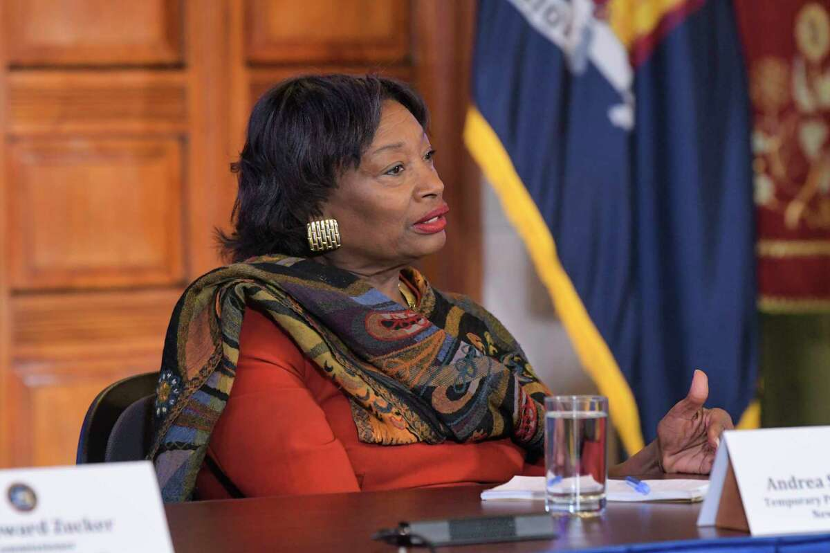 Majority Leader of the New York State Senate Andrea Stewart-Cousins speaks about the coronavirus during a press conference at the Capitol on Tuesday, March 3, 2020, in Albany, N.Y. (Paul Buckowski/Times Union)