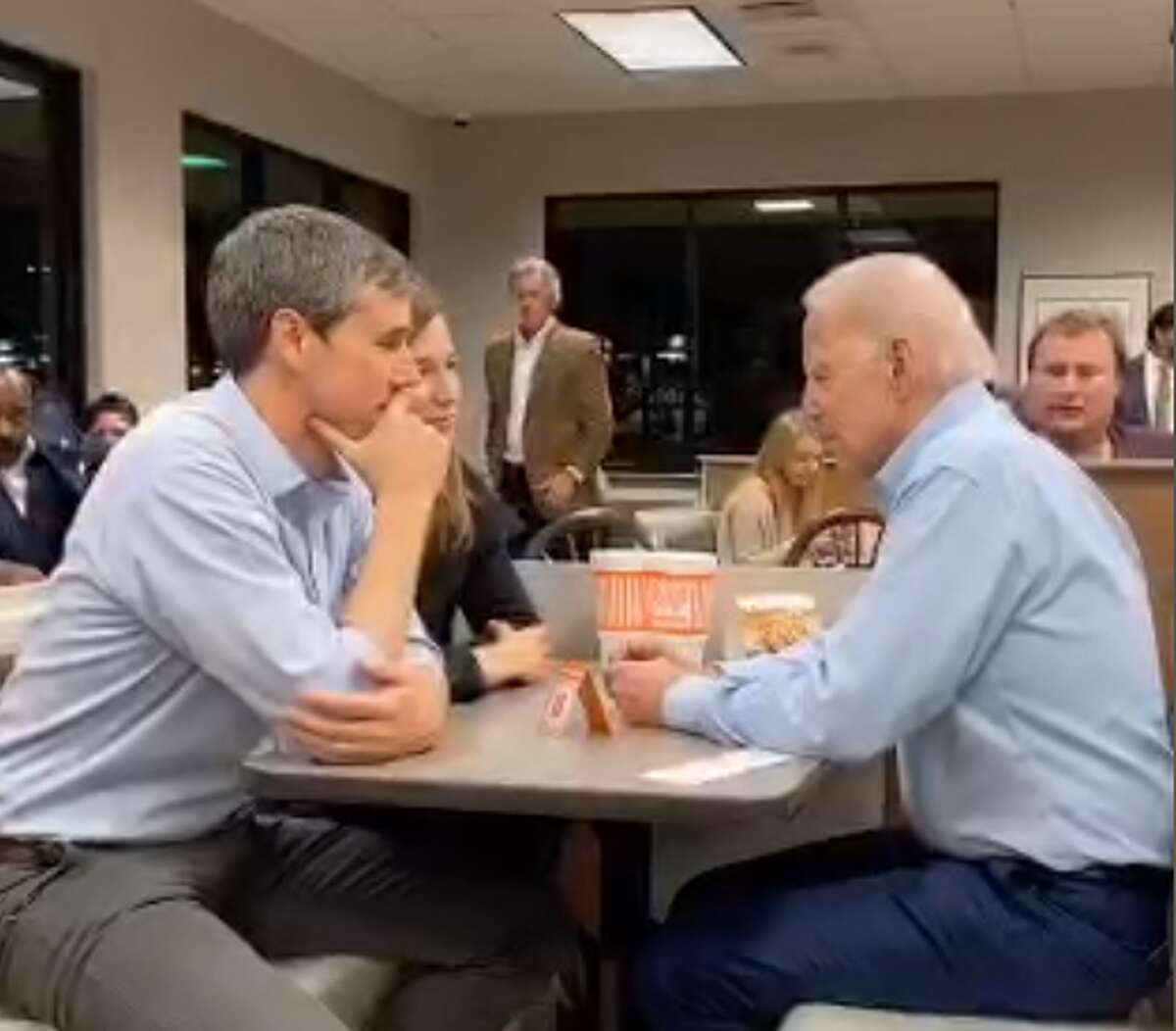 With only one day to pound the pavement before the Super Tuesday primary, Beto O'Rourke took Joe Biden to the one spot in Texas that wiould give him maximum exposure: Whataburger.