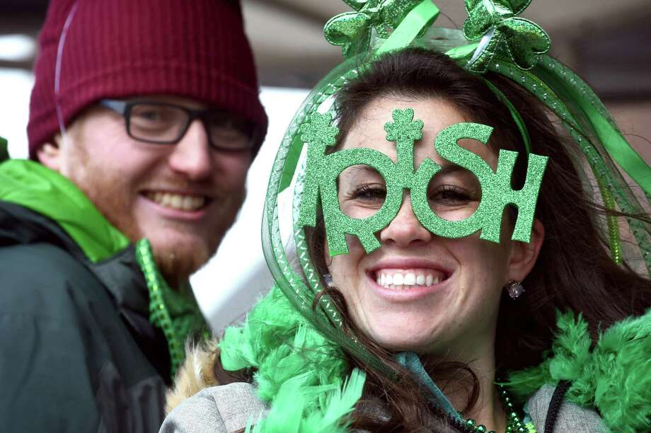 Festive eyeware at the annual St. Patrick's Day Parade in 2018. Photo: Arnold Gold / Hearst Connecticut Media / New Haven Register