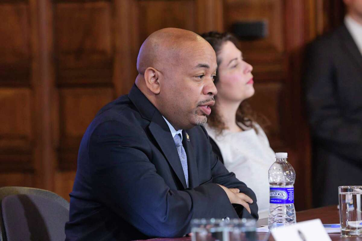 Speaker of the New York State Assembly Carl Heastie speaks about the coronavirus during a press conference at the Capitol on Tuesday, March 3, 2020, in Albany, N.Y. (Paul Buckowski/Times Union)