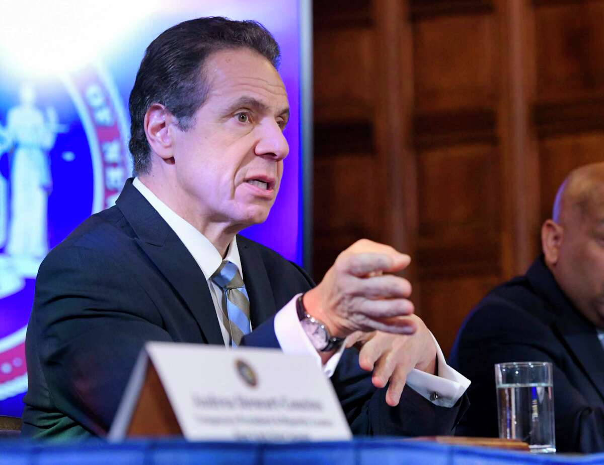 New York State Governor Andrew Cuomo speaks about the coronavirus during a press conference at the Capitol on Tuesday, March 3, 2020, in Albany, N.Y. (Paul Buckowski/Times Union)
