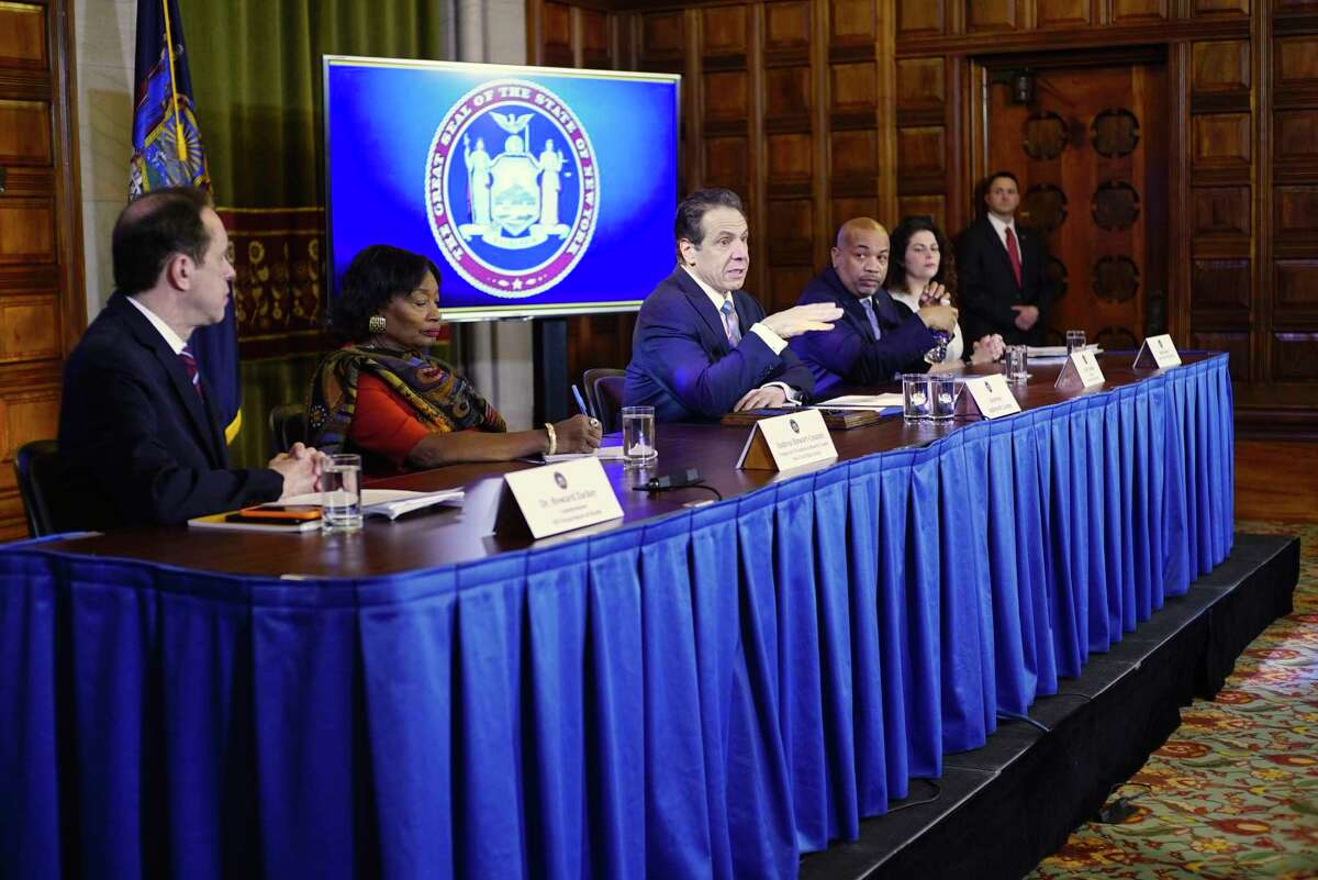From left to right, Dr. Howard Zucker, commissioner of the New York State Department of Health, Majority Leader of the New York State Senate Andrea Stewart-Cousins, Governor Andrew Cuomo, Speaker of the New York State Assembly Carl Heastie and Beth Garvey Special Counsel and Senior Advisor to the Governor, take part in a press conference at the Capitol to discuss the coronavirus on Tuesday, March 3, 2020, in Albany, N.Y. (Paul Buckowski/Times Union)