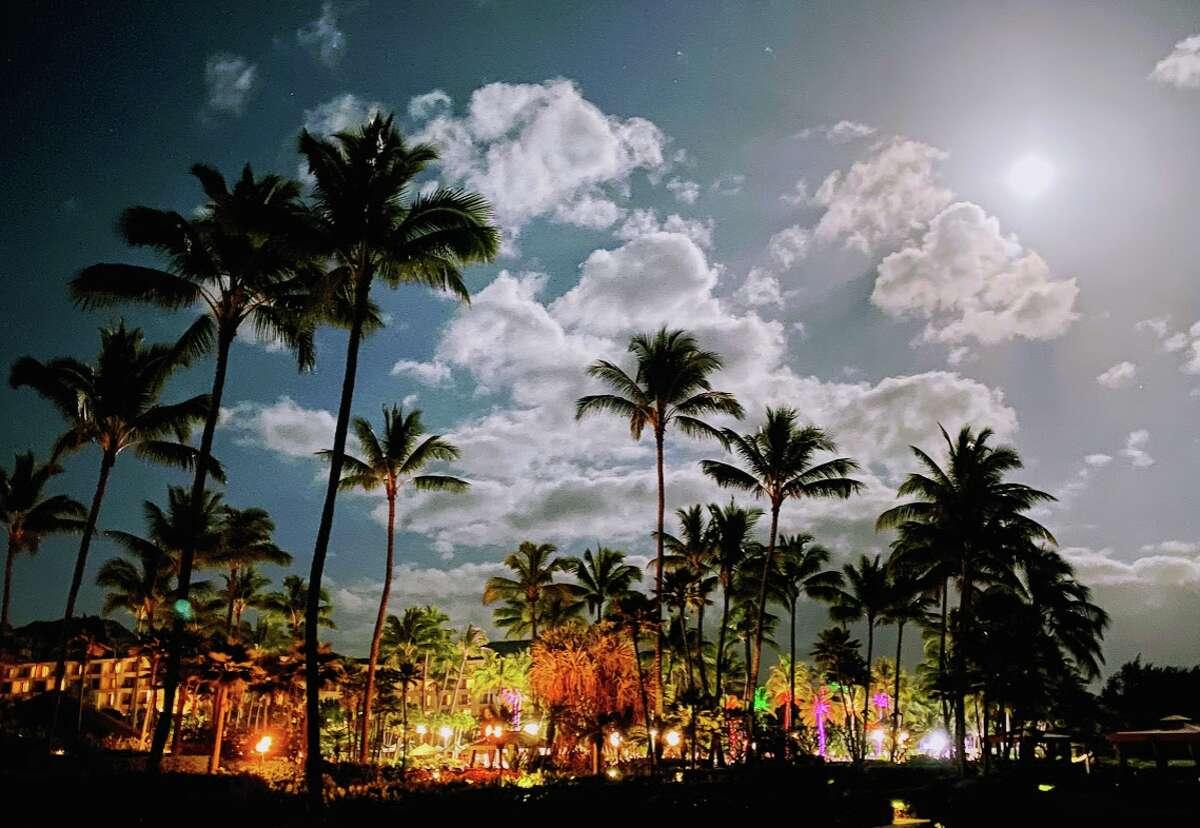 A brilliant February supermoon rises over the Grand Hyatt Kauai resort in Poipu