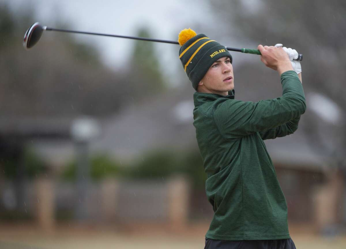 Midland College's George Saunders follows his tee shot 03/03/2020 during the second day of play in the TankLogix/Green Tree CC Invitational tournament. Tim Fischer/Reporter-Telegram