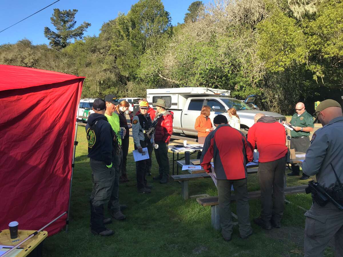 Scott Klingenmaier was last seen on Feb. 27, 2020 in Tennessee Valley in Marin. Here, searchers assemble to look for him.