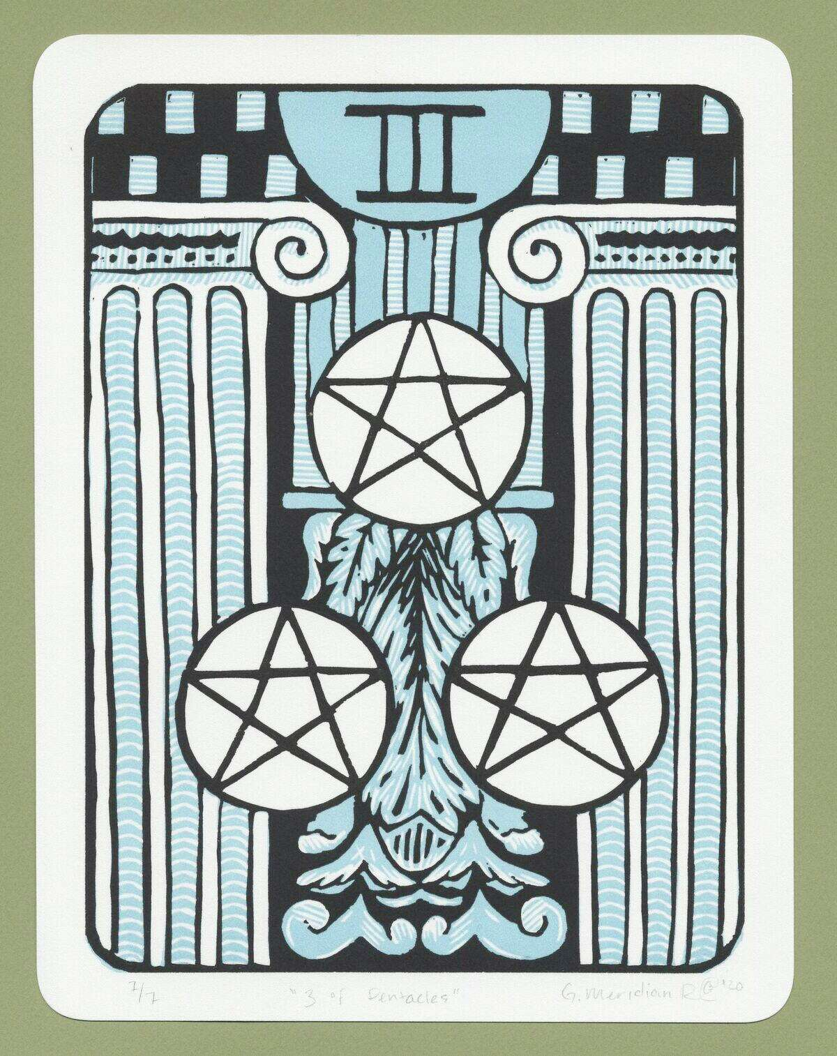 Gabrielle Raulinaitis' 3 of Pentacles will be included in the Witchy exhibit at the Ely Center for Contemporary Art through April 19.
