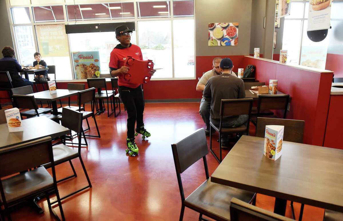 A waitress gets around on roller skates during opening day for the new Albany Sonic Drive-In opened on Tuesday, March 3, 2020, at Mt. Hope Commons on Route 9W in Albany, N.Y. (Will Waldron/Times Union) Read more about this location here.