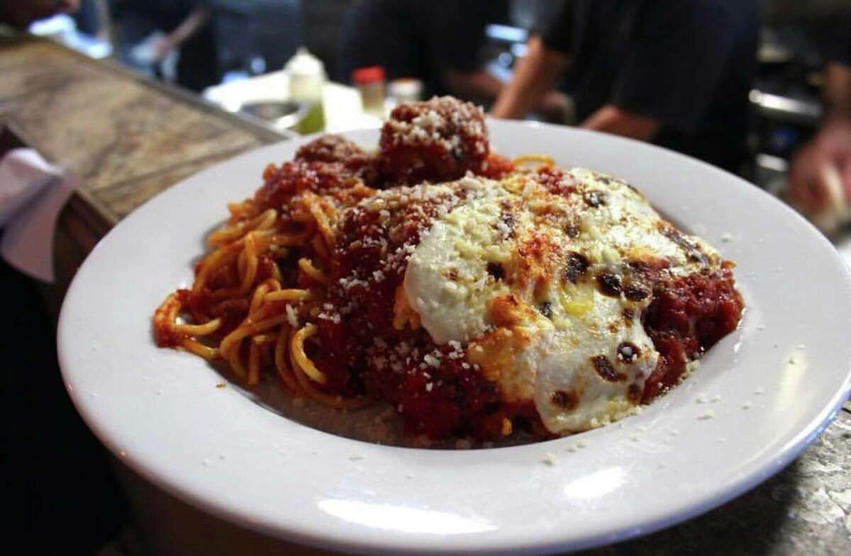 Jonathan's The Rub's classic meatballs, available for lunch and dinner as an appetizer or with pasta; starting at $6 for two meatballs for lunch.