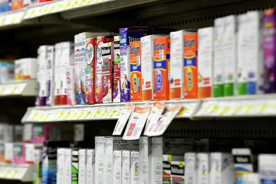 Cold medicine is displayed on the shelves at Marra's Pharmacy on in Cohoes, N.Y. Photo: Will Waldron / Albany Times Union / 20039345A